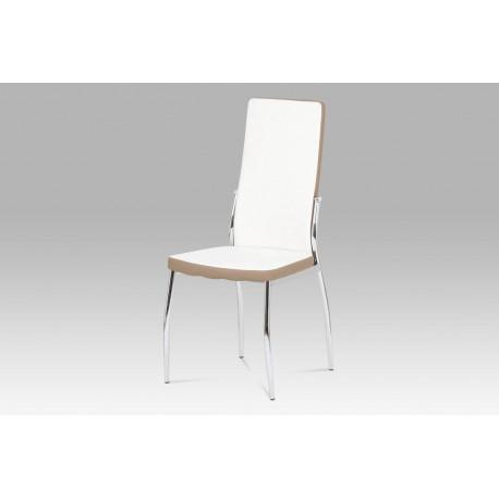Jídelní židle koženka bílá + cappucino
