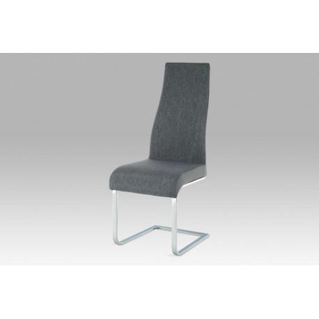 Jídelní židle chrom / látka šedá / koženka šedá