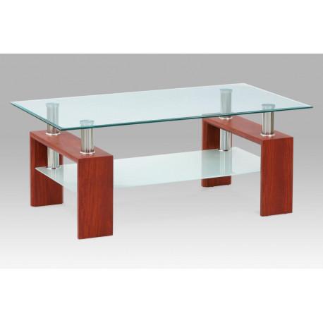 Konferenční stolek 110x60x45 cm, třešeň / čiré sklo 8 mm