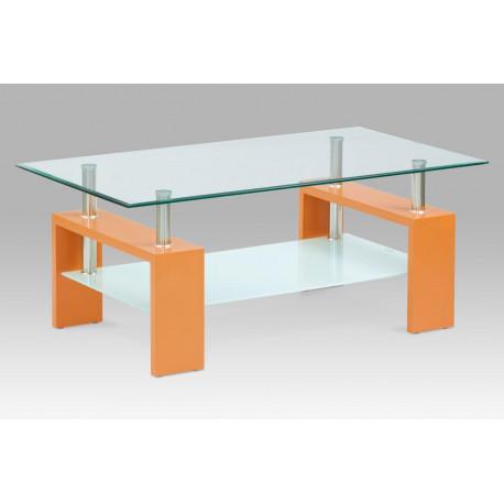 Konferenční stolek 110x60x45 cm, oranžová / čiré sklo 8 mm