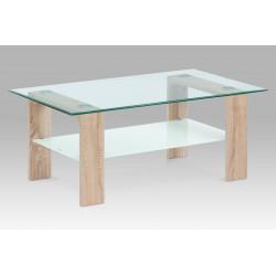 Konferenční stolek 110x65x45 cm, sonoma / čiré sklo 8 mm