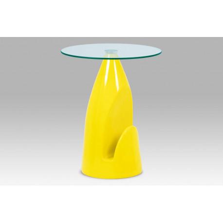 Odkládací stolek, čiré sklo / vysoký lesk žlutý
