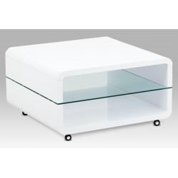 Konferenční stolek 80x80x45 cm, vysoký lesk bílý / čiré sklo 8 mm