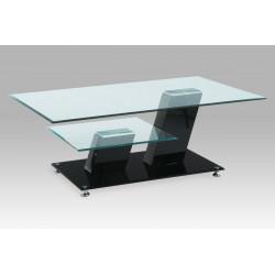 Konferenční stolek 115x75x43 cm, vysoký lesk černý / čiré sklo