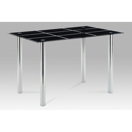 Jídelní stůl 120x80 cm, černé sklo / chrom
