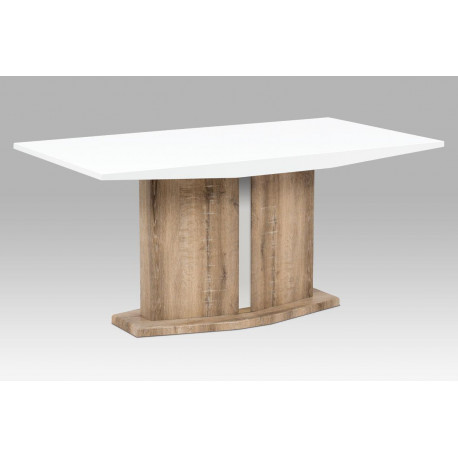 Jídelní stůl 160x90 cm, vysoký lesk bílý / Canyon Grey