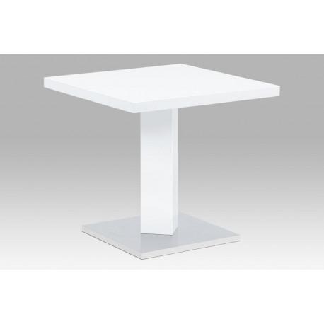 Jídelní stůl 80x80, bílá MDF vysoký lesk, podstavec chrom