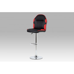 Barová židle koženka černá + červená / chrom