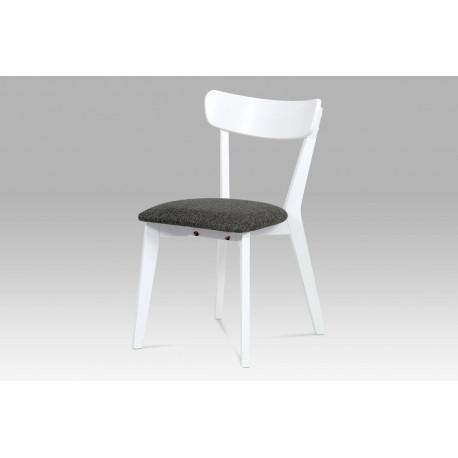 Jídelní židle bílá, sedák šedá látka