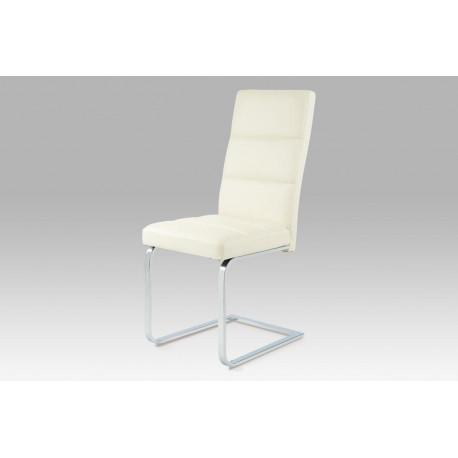 Jídelní židle koženka krémová / chrom