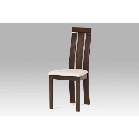 Jídelní židle masiv buk, barva ořech, potah krémový