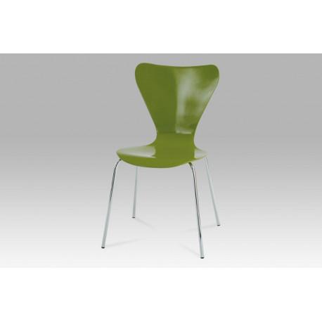 Jídelní židle chrom / překližka zelená (lesk)
