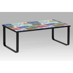 """Konferenční stolek 105x55x38 cm, sklo s potiskem """"SPZ"""" / černá"""