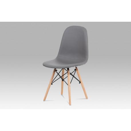 Jídelní židle, šedá ekokůže, masiv buk, kov černý