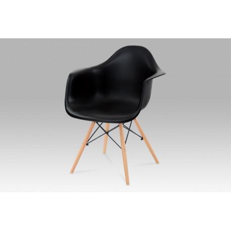 Jídelní židle, plast černý / masiv buk