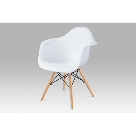 Jídelní židle, plast bílý / masiv buk