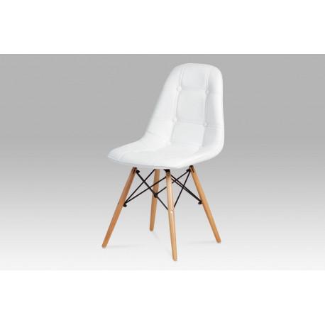 Jídelní židle, koženka bílá / masiv buk