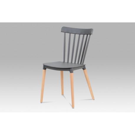 Jídelní židle, šedý plast / masiv buk
