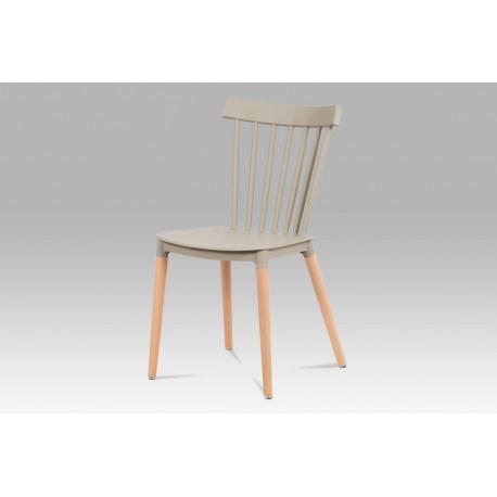 Jídelní židle, latté plast / masiv buk