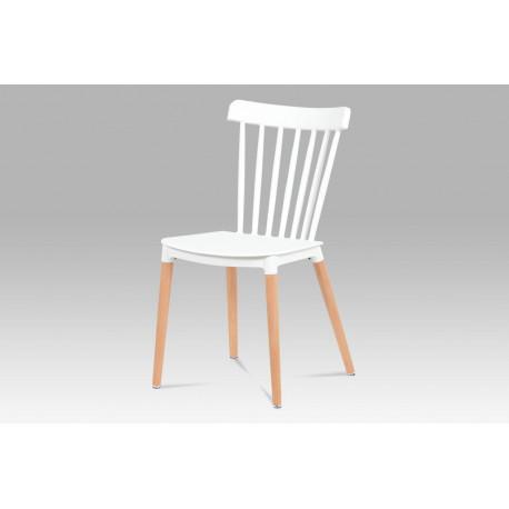 Jídelní židle, bílý plast / masiv buk