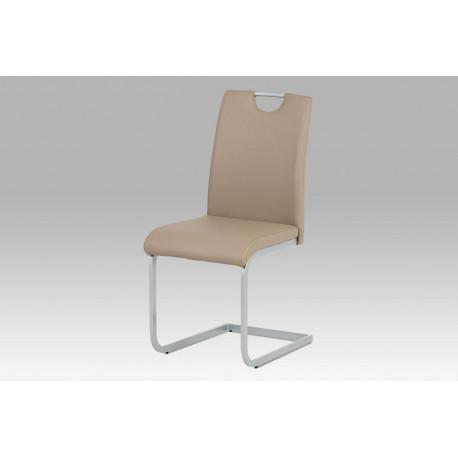 Jídelní židle koženka cappuccino/ šedý lak
