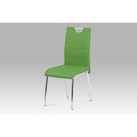 Jídelní židle, ekokůže zelená / chrom