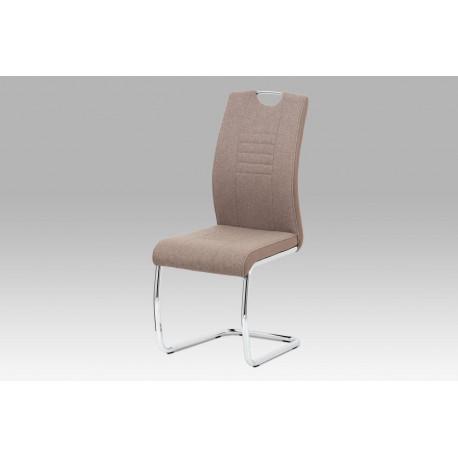 Jídelní židle, cappuccino látka-ekokůže, chrom