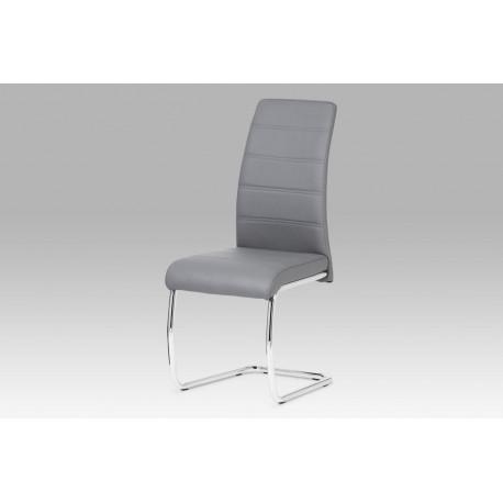 Jídelní židle chrom / koženka šedá