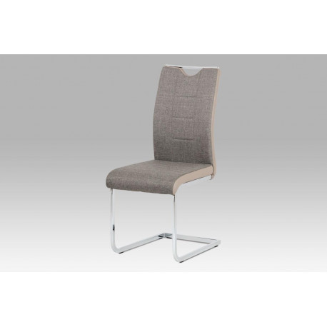 Jídelní židle chrom / lanýžová látka + lanýžová koženka