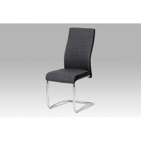 Jídelní židle šedá látka + černá koženka / chrom