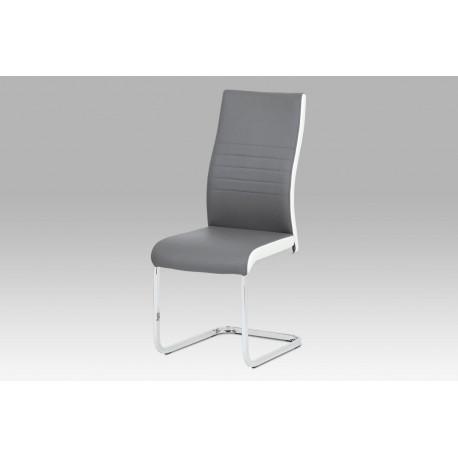 Jídelní židle sv. šedá + bílá koženka / chrom