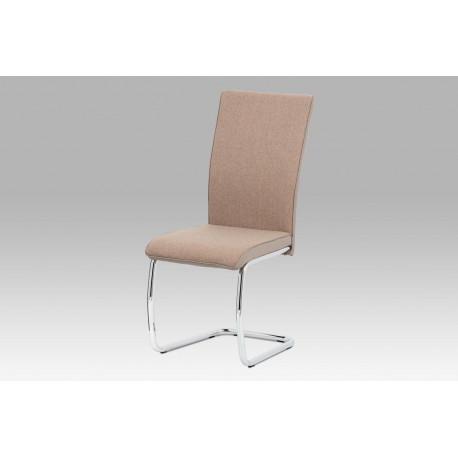 Jídelní židle, capuccino látka-ekokůže, chrom