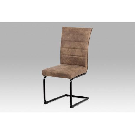 Jídelní židle koženka hnědá / černý lak
