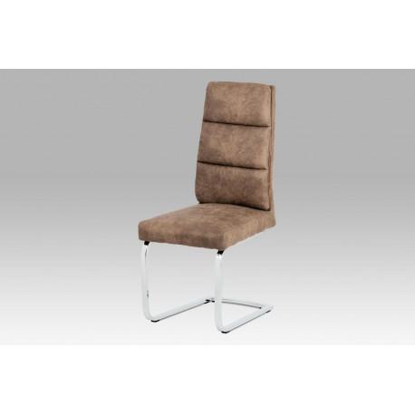 Jídelní židle koženka hnědá / chrom