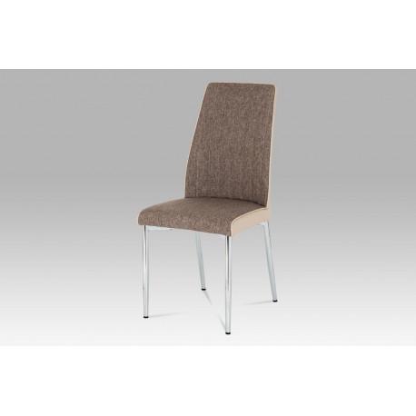 Jídelní židle cappuccino látka + koženka / chrom
