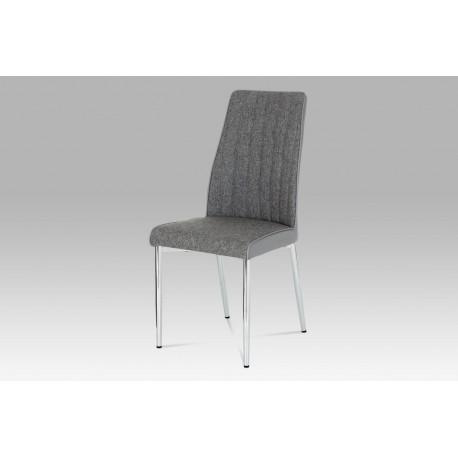 Jídelní židle šedá látka + koženka / chrom