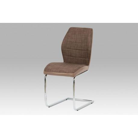Jídelní židle hnědá látka + cappuccino koženka / chrom