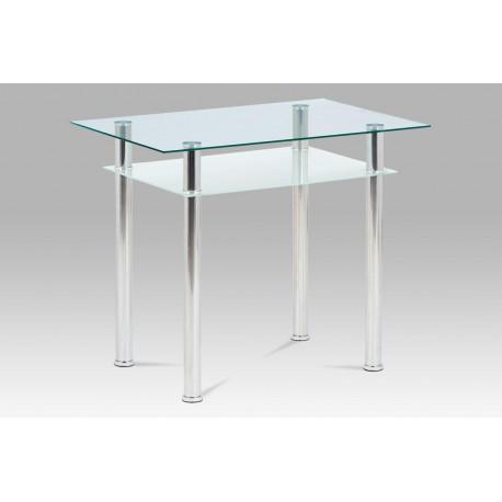 Jídelní stůl 90x60 cm, sklo + chrom