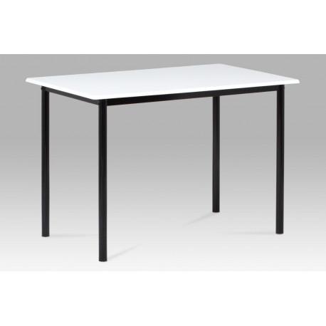 Jídelní stůl 110x70 cm, vysoký lesk bílý / černý lak