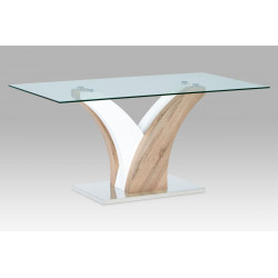 Jídelní stůl 160x90 cm, čiré sklo / sonoma / vysoký lesk bílý