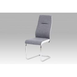 Jídelní židle šedá látka / bílá koženka HC-238 GRW2