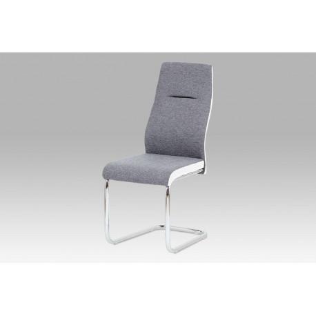 Jídelní židle šedá látka / bílá koženka