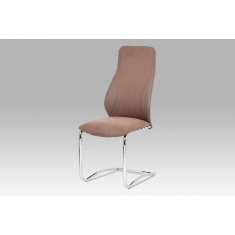 Jídelní židle látka + koženka barva coffee / chrom