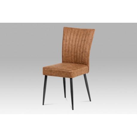 Jídelní židle látka hnědá / broušený kov antik