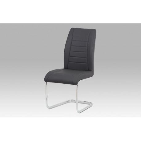 Jídelní židle, koženka šedá / chrom