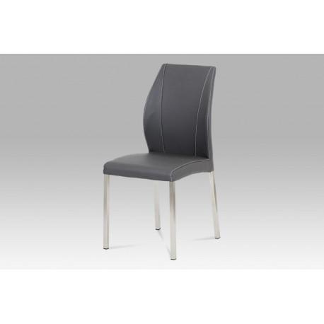 Jídelní židle koženka šedá / broušený nerez