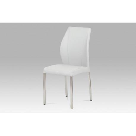 Jídelní židle koženka bílá / broušený nerez