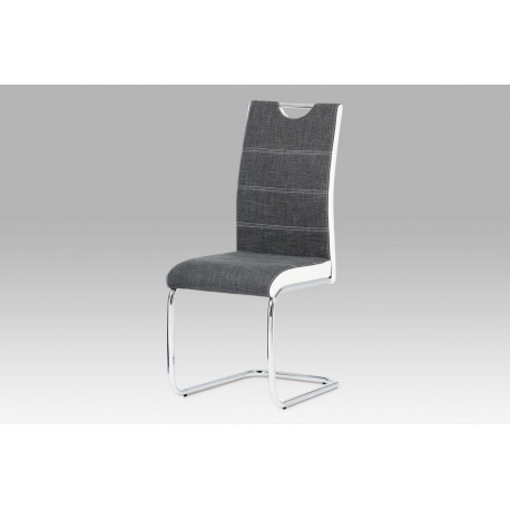 Jídelní židle, látka šedá / boky koženka bílá / chrom