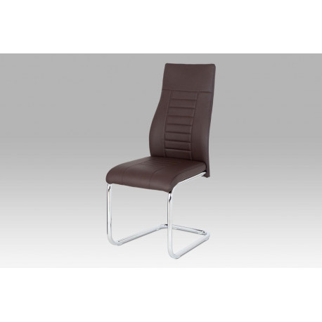 Jídelní židle, hnědá koženka / chrom