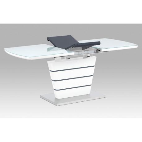 Jídelní stůl 140+40x80, bílá MDF, broušený nerez